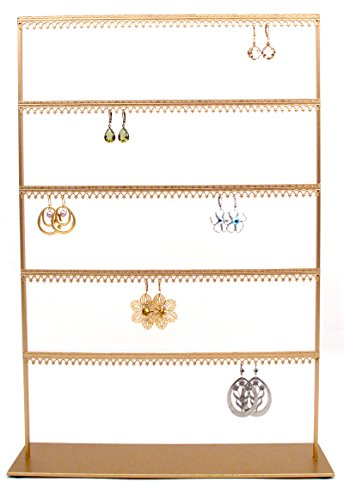 Royal Crown Display Wide 5 Tier Earring Organizer Stand with Crown molding - Gold (Royal Crown Jewelry Display)