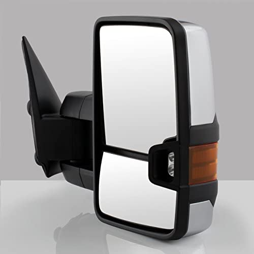For 03-06 Chevy Siverado Pickup Truck Extending Tow Power Heated Function Amber Mirrors w//Chrome Cover