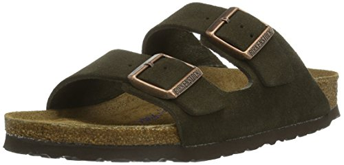(Birkenstock Women's Arizona Suede Leather Sandals - Soft Footbed, Color:Mocha;Size:39 M EU)