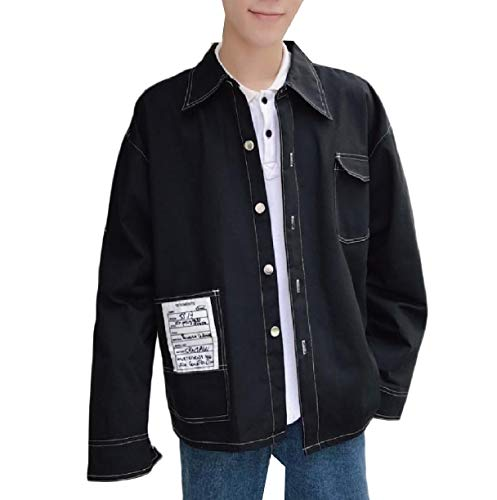 Howme-Men Classic Buttoned Juniors Relaxed Loose-Fit Varsity Jackets Black