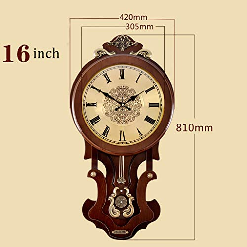 (HCGZ Vintage Pendulum Wall Clock, Wooden Quality Battery Operated Non-Ticking Schoolhouse Regulator Wall Clock Art Clock Accurate Sweep Movement-S 81x42cm(32x17inch) )