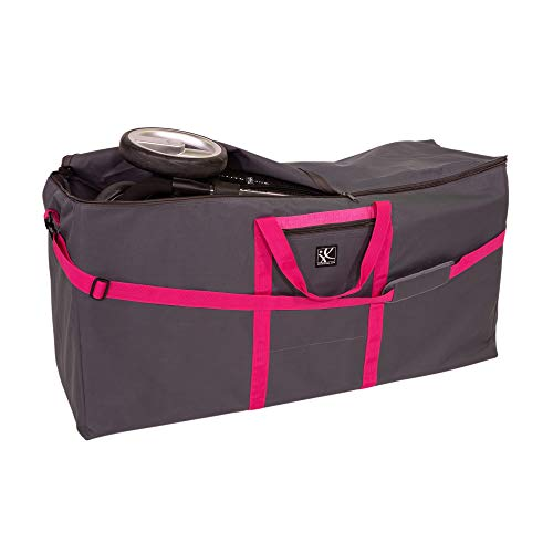JL Childress Standard and Dual Stroller Travel Bag, Grey with Fuchsia Trim