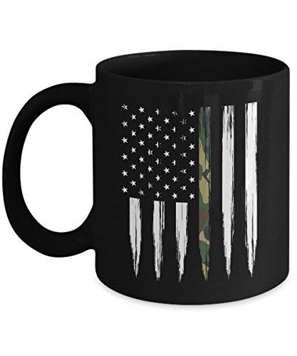 Camo Flag Coffee Mug 11oz - Thin Camo Line Flag Vertical - Soldier Cup