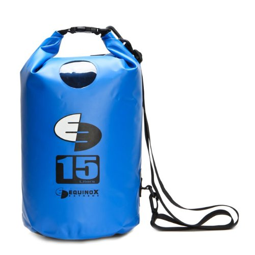 15L 15 Liter Waterproof Dry Bag for Kayaking, Rafting, Canoeing, Fishing, Camping, Hiking, and More. Blue by Equinox Extreme