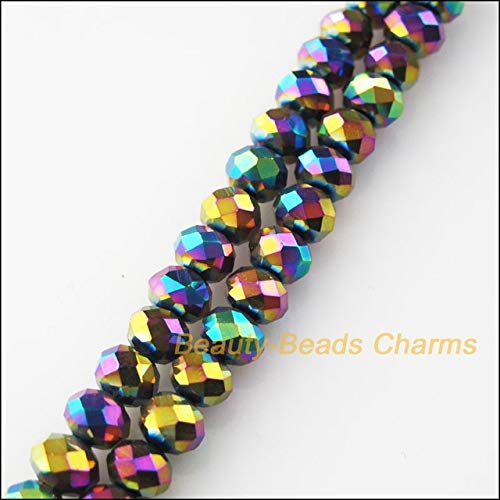Pukido 15Pcs Faceted Round Flat Glass Crystal Spacer Beads Charms Mixed Colors 12mm - (Color: ()