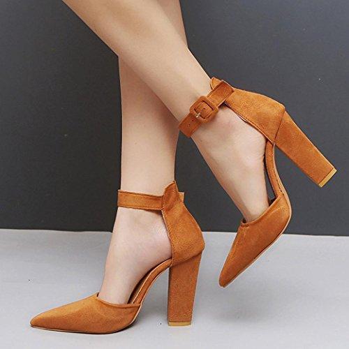 Grober HKFV rau des Khaki Schnalle High Ferse Frauen Party Veloursleders Heels Schuhe der Absatzes Schuhe des Knöchel Block Einzelne hohen Damen rrwqgfd