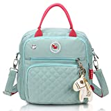 HaloVa Diaper Bag, Baby Nappy Tote Bag, Maternity Bag, Mommy Travel Shoulders Backpack, with Thermal Insulated Bottle Pockets, Fashionable and Quality, Green