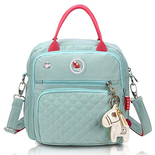 Bag Small Diaper - HaloVa Diaper Bag, Baby Nappy Tote Bag, Maternity Bag, Mommy Travel Shoulders Backpack, with Thermal Insulated Bottle Pockets, Fashionable and Quality, Green
