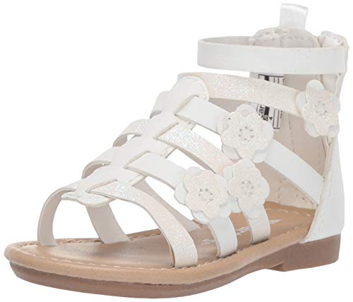carter's Girl's Flossie Flower Gladiator Sandal, White, 9 M US Toddler