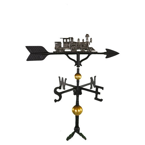 Montague Metal Products 32-Inch Deluxe Weathervane with Swedish Iron Train Ornament (Train Lawn Ornament)