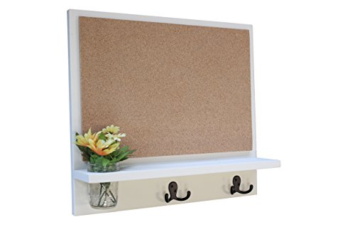 (Legacy Studio Decor Message Board with Cork Board, Coat Hooks and Mason Jar (Smooth, White))