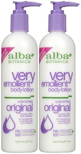 Alba Botanica Lotion Body Very Emollient Lotion Moisturizing (Very Emollient Body Lotion, Unscented, 12 oz, 2 pk)