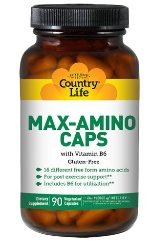 Country Life Max-Amino Caps with B6 -- 90 Vegetarian Caps...