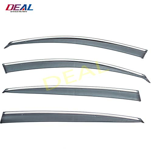 DEAL 4-piece set vent window visor with smoke chrome trim, side window rain guard with outside mount tape-on/clip-on type, custom fit high-class quality for 2011-2015 Kia Optima All Models