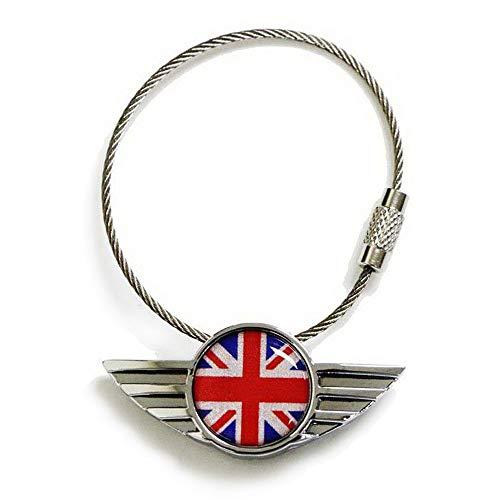 - iJDMTOY Chrome Polished Alloy Metal Classic Red/Blue UK Union Jack Wing Shape Key Chain Ring Keychain for All Mini Cooper R50 R52 R53 R54 R56 R57 R58 R59 R60 R61 F54 F56 F60, etc