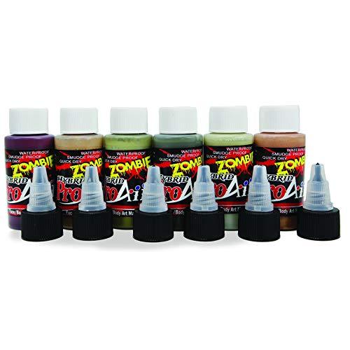 Face Painting Makeup - ProAiir Waterproof Makeup - Set of 6 Ghoulish Zombie Colors - 1 oz (30ml) ()