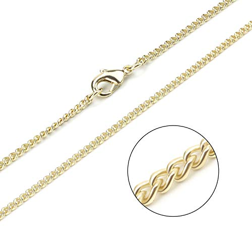 Wholesale 12PCS Gold Plated Solid Brass Curb Chain Bulk for Jewelry Making (18 inch(2MM)) by ALEXCRAFT