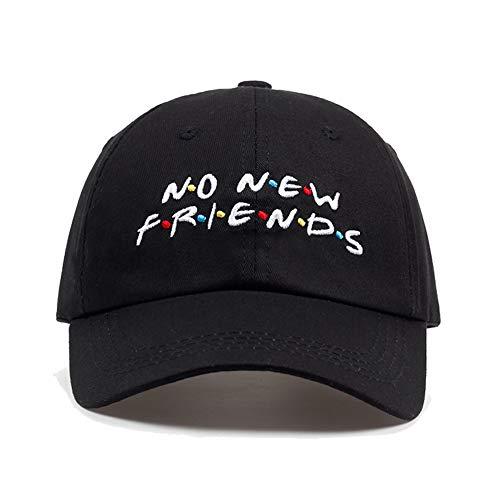 NO New Friends Embroidery Baseball Caps,Adult Adjustable Hats Dad Hat, Unisex Trending Rare Caps for Men Women (Black)