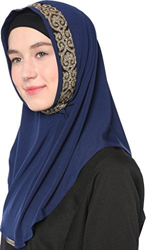 Ababalaya Women's Muslim Glitter Sequins Solid Jersey Headscarf Instant Hijab Ready to Wear Hijab,Navy Blue by Ababalaya (Image #2)