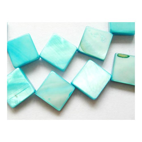 Strand of 30+ Cyan Freshwater Shell 10mm Flat Square Beads - (Y07285) - Charming Beads