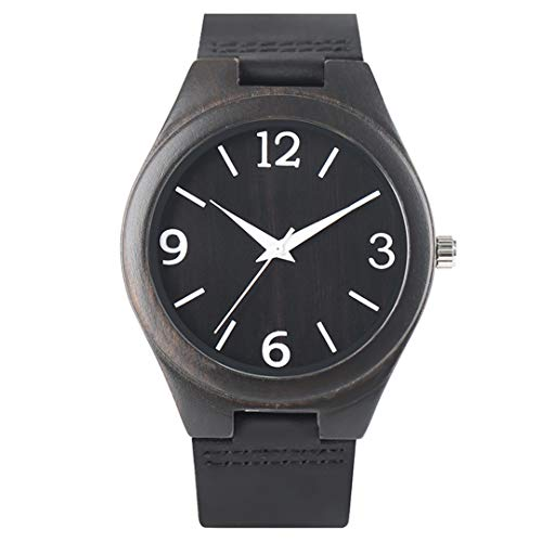 Casual Watch Men Women Watches Ebony Wooden Watch Real Leather For Unisex Handmade Bamboo Clock Black