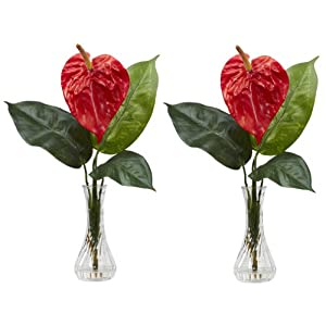 New Anthurium w/Bud Vase Silk Flower Arrangement (Set of 2) 31