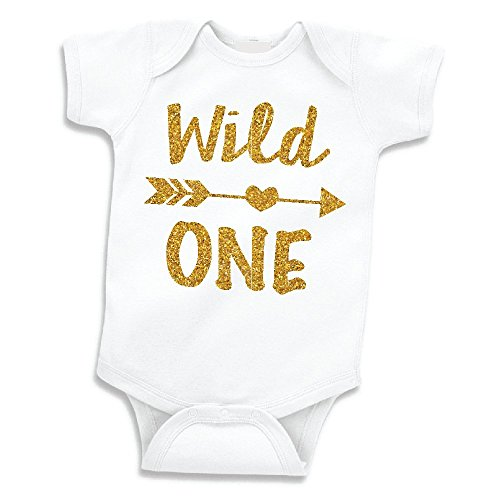 Baby Girls First Birthday Outfit, Wild One Bodysuit (12-18 -
