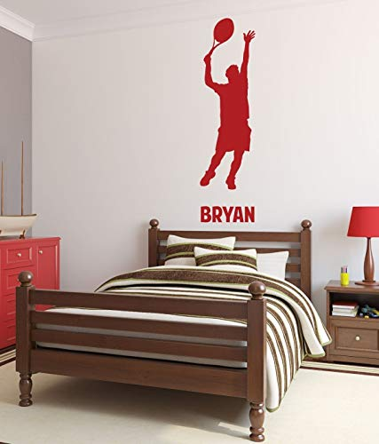 - BYRON HOYLE Tennis Personalized Male Athlete Sport Player Serving for Child Teen Bedroom Vinyl Wall Art Decal