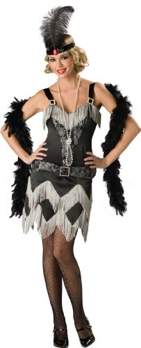InCharacter Costumes, LLC Charleston Cutie Dress, Black/White, (Charleston Black Flapper Costumes)