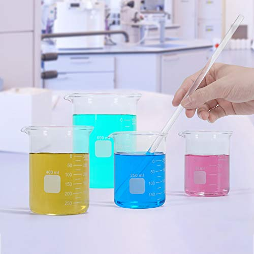 Graduated Glass Measuring Low Form Beaker Set 50ml 100ml 250ml 400ml 600 ml