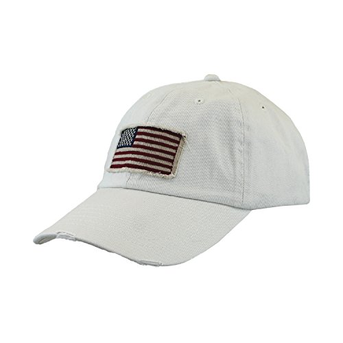 Dorfman Pacific Light Beige Vintage Twill USA American Flag Baseball Hat Cap (Twill Usa Flag)