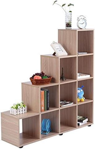 White Bookshelf / Storage / Shelving Unit with Wooden Shelf, Shelf Cube for Books / CDs / Models  quercia 10
