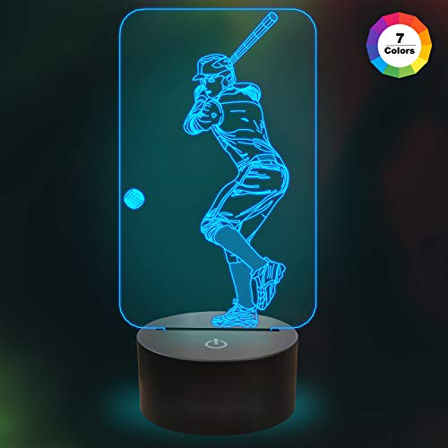 Baseball Night Light,3D Lamp 7 Colors Change with Smart Touch Control Kids Night Light Optical Illusion Lamps for Boys Girls As Gift Ideas for Baseball Fan