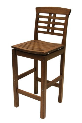 Eucalyptus Bar Chair - Outdoor Interiors 10030 Eucalyptus Hi Back Bar Chair