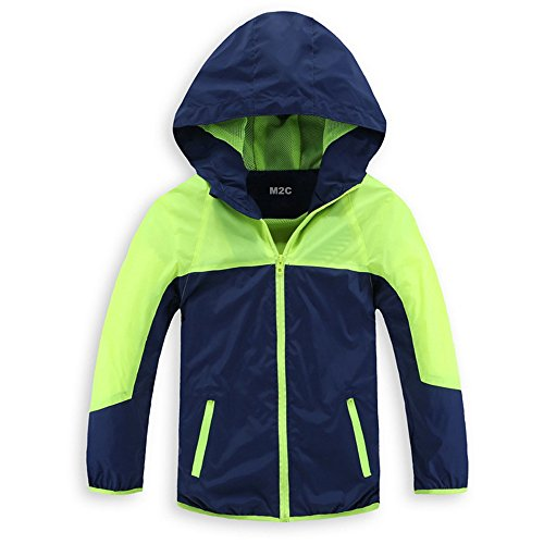 (M2C Boys & Girls Hooded Light Windproof Windbreaker Jacket Green 6/7 (Tag Size 130))