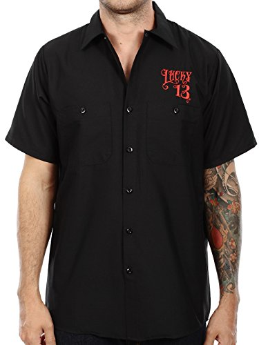 Lucky 13 Miss Fire Pinup Girl Work Shirt (M, Black)