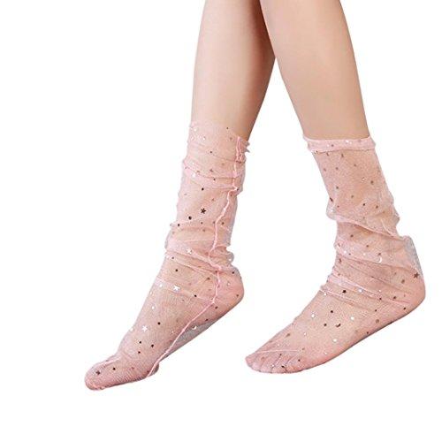 Calze Rete Pesce Donna Inkach - Trendy Girls Glitter Stella Elastico Calze Alla Caviglia Calze A Rete Trasparente Rosa