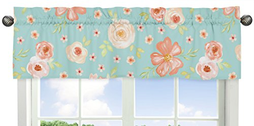 (Sweet Jojo Designs Turquoise and Peach Window Treatment Valance for Watercolor Floral Collection - Pink Rose Flower)