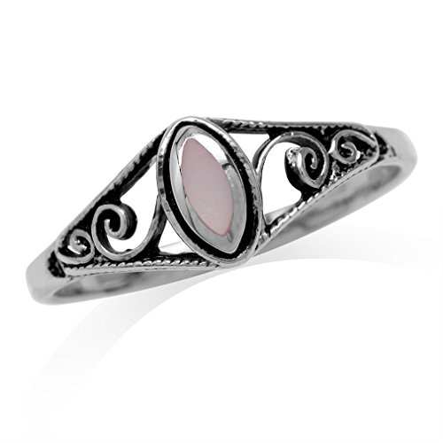 Clearance Petite Pink Mother Of Pearl Inlay 925 Sterling Silver Filigree Swirl & Spiral Style Ring Size 7