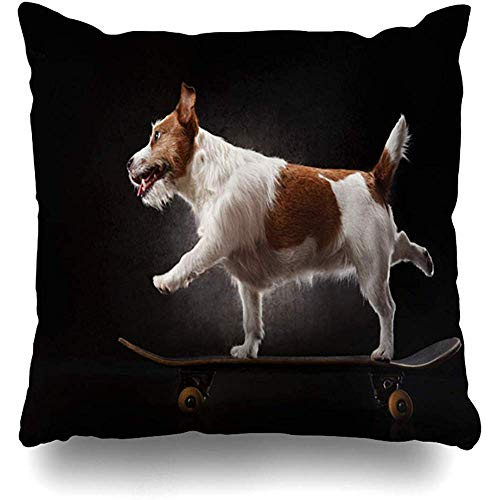 Throw Pillow Cover Square 18x18 Inch Ride Skateboard Jack Russell Terrier Dog Riding On Sports Recreation Humor Trainer Dynamic Design Zippered Cushion Pillow Case Home Decor Pillowcase