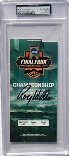 Roy Williams Autographed Signed North Carolina 2017 Championship Basketball Ticket PSA/DNA