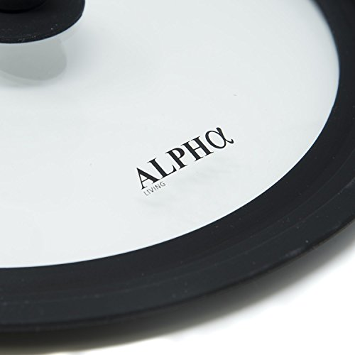 """Alpha Living Universal Silicone Glass Cookware Lid for Pots and Pans Vented Tempered Glass - Graduated Lid with Easy Grip Fits 9.5"""", 10"""" 11"""" (Small)"""