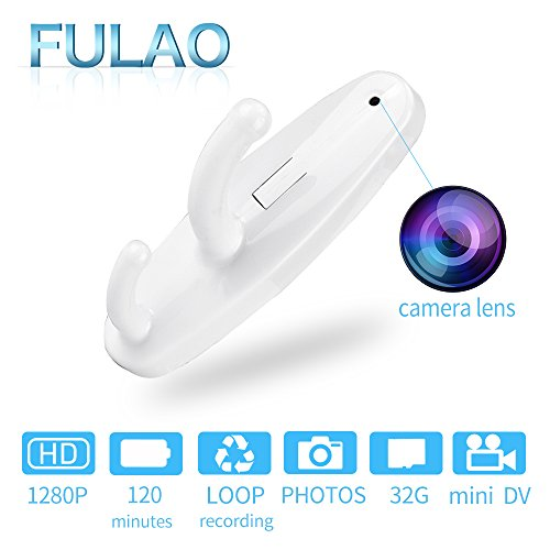 FULAO Spy Clothes Hook Cam Full HD Covert 1280p Recorder Camera White