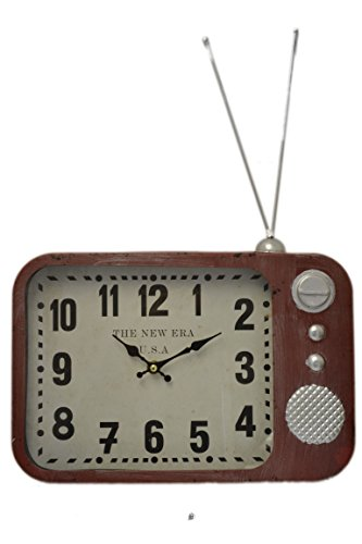 American Chateau Distressed Vintage Retro 50's-Style Red Metal Television Wall Clock with (Metal Retro Tv Clock)