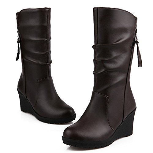 Autumn Mid Wedges TAOFFEN Winter calf Boots Heel Classic Brown Shoes High Women PU xwqTSBpE