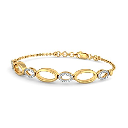Or jaune 18 K, 0,28 CT TW Round-cut-diamond (Ij| SI) Identification-bracelets