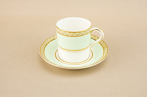 Paragon China Bone (Pale Turquoise Charming Paragon COFFEE CUP Saucer Party Medium Bone China Retro Gilded Vintage Late 20th Century LS)