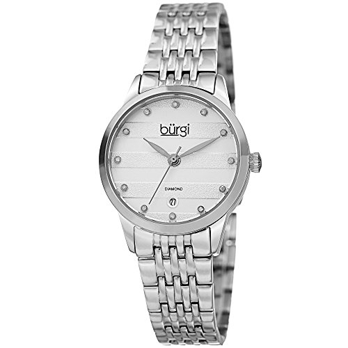 Burgi Women's BUR146SS Silver Quartz Watch With Diamond Dial And Silver Bracelet