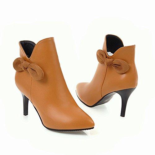Charm Fot Womens Fashion Bågar Spetsig Tå Dragkedja Hög Klack Boots Gul