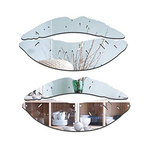 2 juegos de adhesivos grandes para espejo de labios, 3D removibles en forma de corazón para pared, papel pintado…